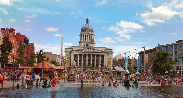 Nottingham, Town Hall, Market, Market Square, Fountain
