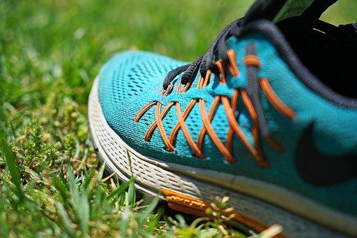 Shoes, Blue, Sports, Running, Orange, Grass, Nature