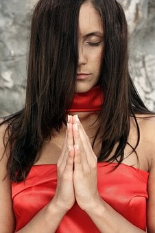 Women's, Red, Model, Exposure, Hands, Prayer, Worship