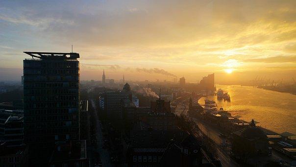 Sunrise, Hamburg, Port, Building, Skyline, Architecture
