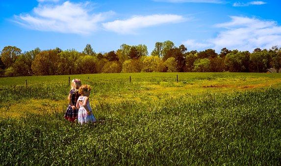 Kids, Field, Summer, Outdoor, Nature, Happy People