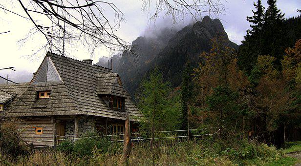 Mountains, The Wooden Building, Wooden Cottage