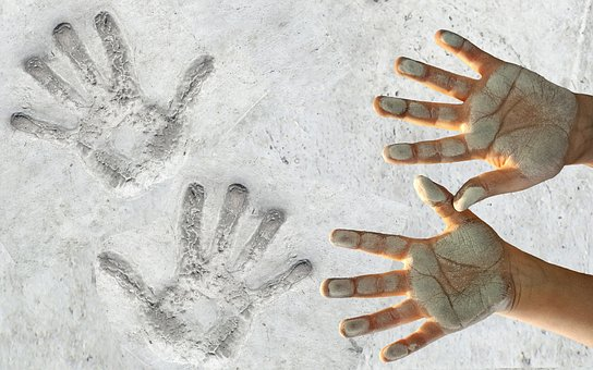 Hands, Handprint, Dirty, White