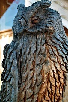 Owl, Wood, Carving, Figure, Artwork, Holzfigur, Carved