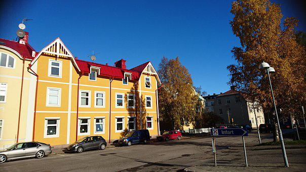 Yellow House, Sweden, House, City, Sunny Day