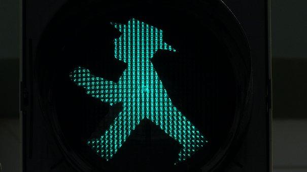 Traffic Lights, Footbridge, Little Green Man