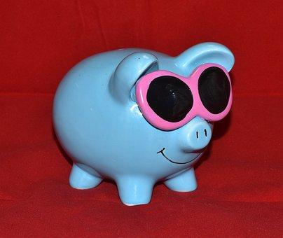 Piggy Bank, Blue, Glasses, Money, Save