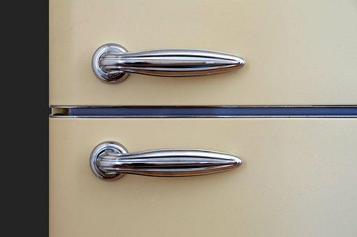 Handles, Door, Refrigerator, Chrome, Reflection, Metal