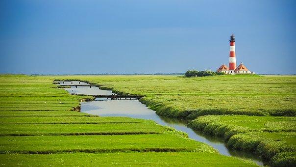 Westerhever Lighthouse, North Sea, Lighthouse