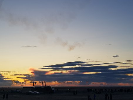 Sunset, Beach, Seaside, Southport, Air Show, Cars
