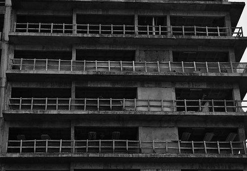 Urban, Building, Construction, City, Facade, B W