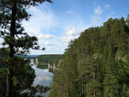 The Vishera River, Height, Rocks, Forest, Travel