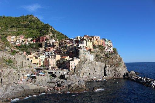 Italy, Sea, Houses, Landscape, The Coast