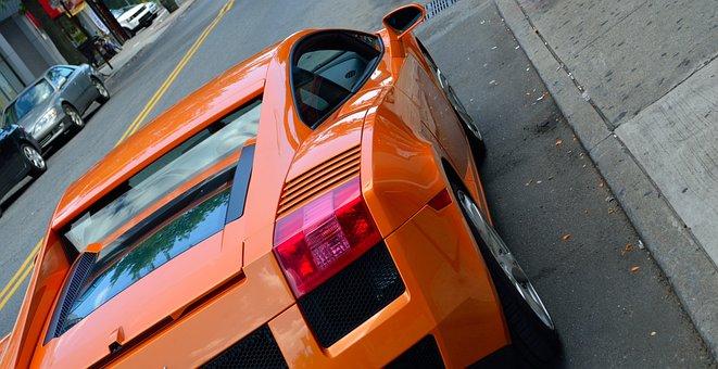 Lamborghini, Rear View, Street, Race Car
