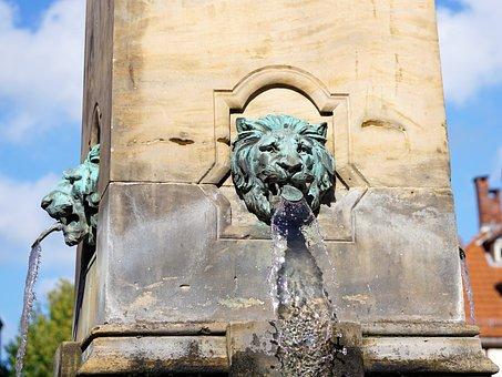 Fountain, Water, Hofgeismar, Old Town, Lion
