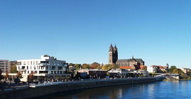 Magdeburg, City, Elbe, Stand By The River, Old And New