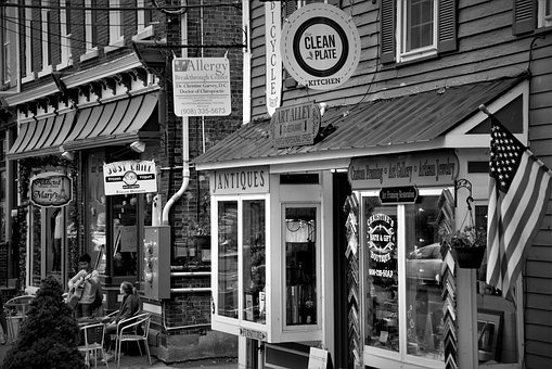 Black And White, Main Street, Town, Exterior, Downtown
