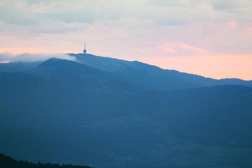 Radio Tower, Mountains, Morning, Fog, Sunrise
