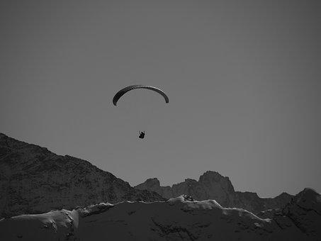 Parachutist, Mountains, Black And White, Skydiving