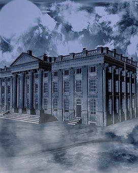 Home, Night, Fog, Creepy, Horror, Background, Mystical