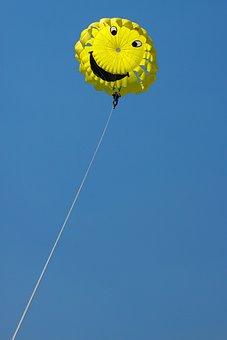 Parachute, Yellow, Blue, Landscape, Nature, Beautiful