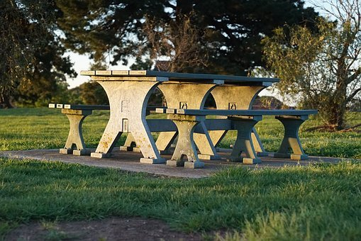 Picnic Tables, Park, Stone, Carved, Relaxation, Comfort