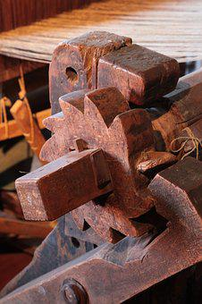 Loom, Clamping Device, Detail, Wood, Gear, Old, Patina