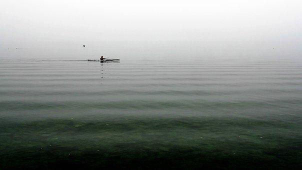 Kayak, Rowing, Relax, Lake, Haze, Morning