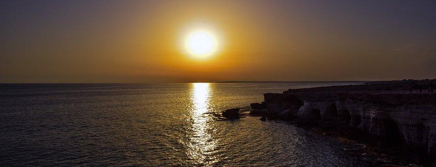 Sunset, Sun, Sea Caves, Coast, Sea, Nature, Cave, Rock