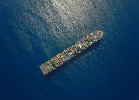 Container Ship, Drone, Above, Sea
