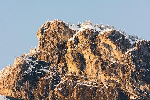 Mountain, Warm, Snow, Sky, Landscape, Mood, Sunset