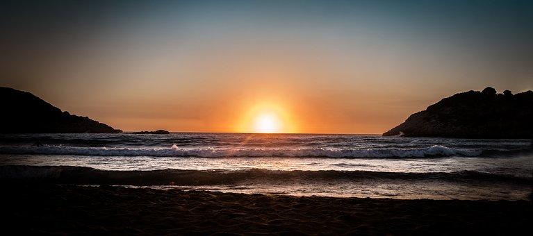 Sunset, Sea, Greece, Wave, Summer, West, Topio, Sky