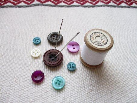 Buttons, Thread, Needlework, Needles, Coil, Design