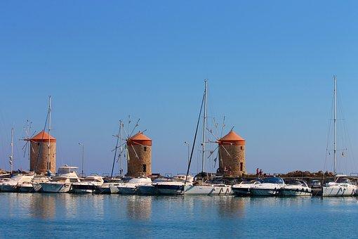 Windmills, Landmark, Rhodes, Greece, Building