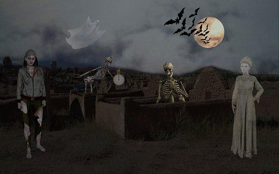 Halloween, Skeleton, Spirit, Zombie, Bat, Mystical