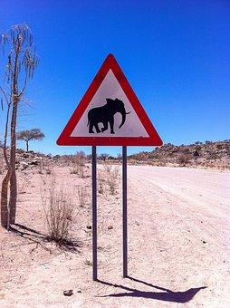 Elephant, Sign, Road, Africa, Namibia