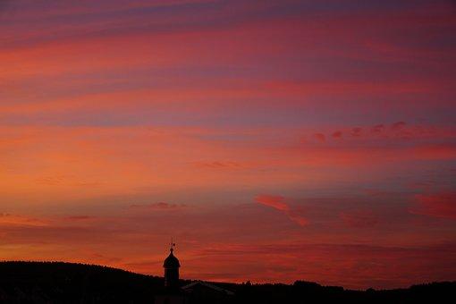 Sunset, Afterglow, Evening Sky