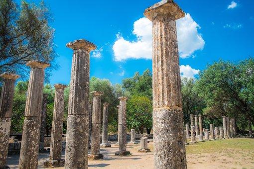 Columns, Ancient Olympia, Ruins, Ancient Greece