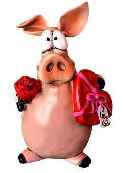 Piglet, Figure, Love, Funny, Cute, Animal, Lucky Pig