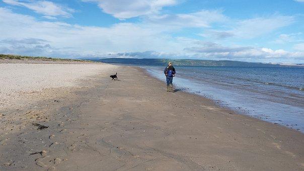 Beach Highlands, Scotland, Dogwalk, Beach, Landscape