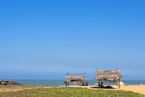 Beach, Hut, Sky, Sea, Coast, Holiday, Beach Hut, Nature