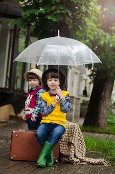 Suitcase, Rain, Street, Wet, Weather, Boy, Kids