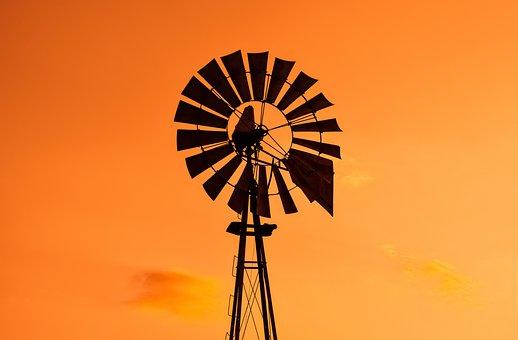 Sunset, Windmill, Sky, Clouds, Evening, Orange, Cyprus