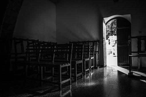 Door, Open, Light, Dark, Shadows, Church, Interior
