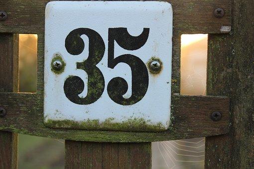 Number, 35, Enamel Sign, Enamel, Screw, Shield, Wood