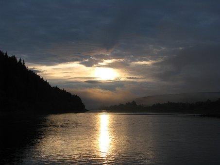 The Evening Sunset, Clouds, Evening Sky, Nature, River