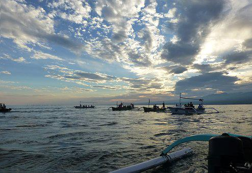 Sea, Fishing Boats, Early In The Morning, Indonesia