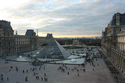 Paris, Louvre, France, Architecture, Glass Pyramid