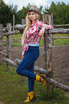 Country, Village, Cowboy, Girl, Hat, Shirt, Jeans