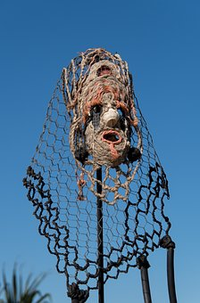 Head, Art, Crown, Head Dress, Sculpture, Large, Pole